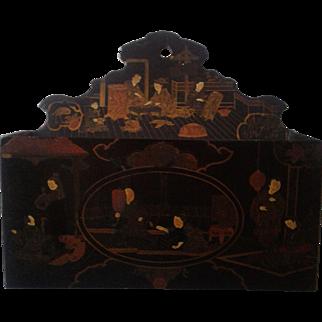 Antique 19thC Chinosorie Paper Mache Letter Holder