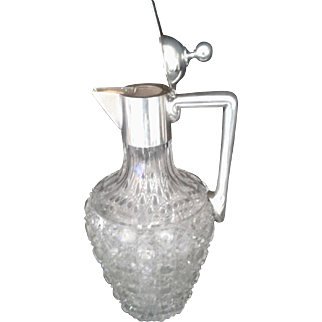 H.C. Ostrem Silver and Crystal Wine Decanter 1800s Early 1900s
