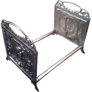 Brass Book Rack with Artist Late 1800S Early 1900s