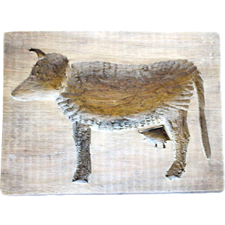 Primitive Folk Art Cow Maple Sugar Mold