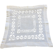 Pristine Antique Drawn Needlework Handkerchief