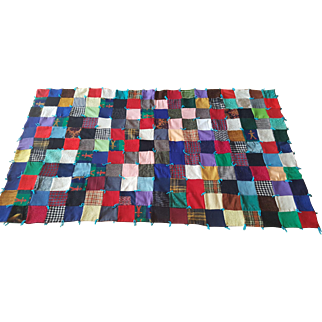 Fabulous Mid-Century Patchwork Suiting Quilt