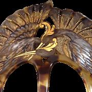 AUGUSTE BONAZ Signed Art Nouveau Celluloid Hair Comb Two Herons France ca. 1900-10