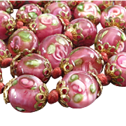 Unusual 1920s Pink Venetian Murano Glass Bead Necklace of Lampworked Paperweight Beads Millefiori