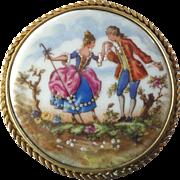 "X-Large Vintage Limoges Hand Painted Porcelain Brooch Romantic Couple Pastoral Scene 2 1/4"""
