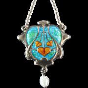 Payton & Pepper Antique Art Nouveau Arts and Crafts Silver Enamel Pendant Necklace Hearts Birmingham 1909