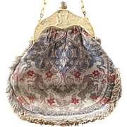 Vintage French Tapestry Purse Signed Celluloid Handle Oriental Scene