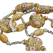 Delicate 1920s Venetian Murano Art Glass Bead Necklace Wedding Cake Beads Gold Washed Millefiori