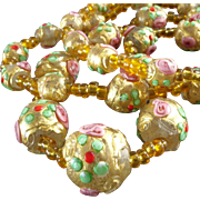 1920s Venetian Murano Glass Bead Necklace Wedding Cake Beads Gold Washed Millefiori