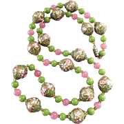 Long 1920s Venetian Murano Glass Bead Necklace Wedding Cake Beads Aventurine Millefiori