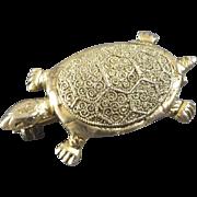 Theodor Fahrner 1930s Gilt Sterling Silver Turtle Brooch
