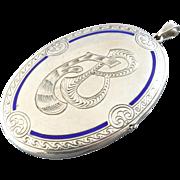 "3"" Signed Antique German 800 Silver Blue Enamel Locket Pendant Charm Gebrüder Falk"