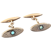 Antique Art Nouveau Opal 14K Gold Cufflinks Signed