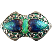 Antique Arts and Crafts Murrle Bennett Silver Blue Green Enamel Hearts Brooch