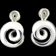 Georg Jensen Torun Bülow Hübe Modernist Sterling Silver Spiral Clip on Earrings