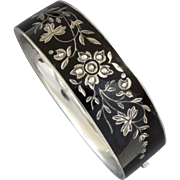 Antique Austrian Mourning Enamel Pearl 750 Silver Hinged Bracelet, Vienna, ca. 1880s