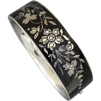 Antique Austrian Mourning Enamel Pearl 750 Silver Hinged Bracelet, Vienna, ca. 1880s
