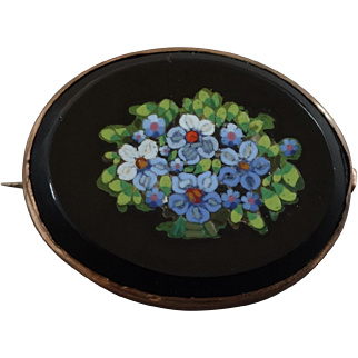 """Antique Victorian Micro Mosaic Brooch Forget-Me-Nots 1 1/2"""" by 1 1/4"""" Italy"""