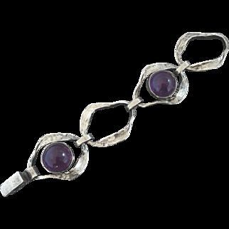 Vintage Perli German MidCentury Modernist Amethyst 835 Silver Bracelet Brutalist Boho Chic