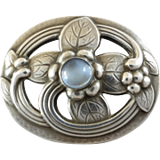 Vintage Georg Jensen Moonstone Sterling Silver Flower Brooch #138