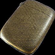 Antique Japanese Pocket Match Safe Vesta Case Gilt Metal Wire Black Lacquer Nunome Zogan Shakudo Damascene Komai ca. 1900