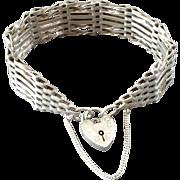 Vintage Sterling Silver English Gate Link Padlock Bracelet