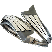 Vintage Hilario Lopez Taxco Mexican Sterling Silver Clamper Bracelet