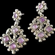 "2 7/8"" Vintage Taxco Mexican Amethyst Sterling Silver Long Dangling Earrings"