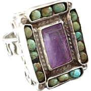 Matl - Matilde Poulat Signed Vintage Mexican Turquoise Amethyst Sterling Silver Ring