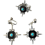 Vintage Mexican Taxco Onyx Turquoise Sterling Silver Ring Earring Set Signed ML Eagle Mark Star