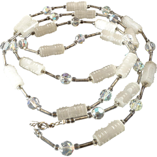 Art Deco Long Vintage Czech Glass Bead Chain of Frosted and Aurora Borealis Facetted Beads Charleston 1920s 1930s