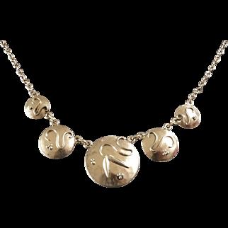 Unique Art Deco 835 Silver Necklace Bauhaus Hand Made 1930s