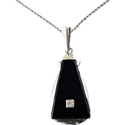 Original Art Deco Diamond Onyx 835 Silver Pendant on Chain 1920s 1930s