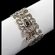 Wide Vintage Silver Garnet Bracelet ca. 1950s - Gothic Punk Boho