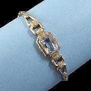 Vintage Art Deco Aquamarine Coloured Blue Stone 835 Silver Bracelet