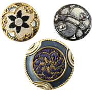 Three Antique 19th Century Metal Buttons with Fabric Inlay