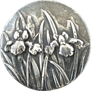 """Antique Art Nouveau Silver Iris Flower Button 1 1/8"""""""