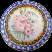 """Large Antique Handpainted Porcelain Button 1 7/16"""""""