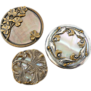 """Three Large Antique French Art Nouveau Mother of Pearl Metal Buttons 1 7/16"""""""