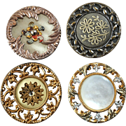 """4 Antique Metal Buttons Openwork Celluloid Pearl Paste Inlays 1 1/4"""""""