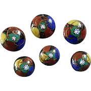 """Six Antique Czech Cane Overlay Glass Buttons with Mica 11/16"""""""