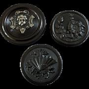 "Three Antique 19th Century Black Horn Buttons Cherub Fan Dog-Rose 1 3/16"""