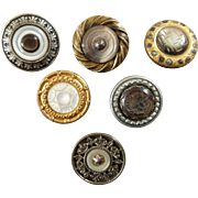 Six Antique Mother of Pearl Metal Buttons 19th Century 13/16""