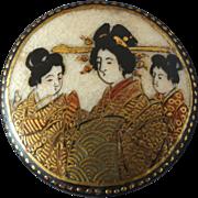 "Antique Japanese Satsuma Button Three Geishas in Fine Detail 1 3/16"""