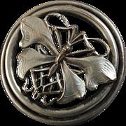 "Large Antique Art Nouveau French Metal Button Butterfly 1 5/8"""