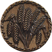 """Antique 19th Century Metal Picture Button Ear of Corn Wood Back 1 1/4"""""""