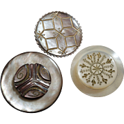 Three Large Carved Engraved Mother of Pearl Buttons, largest 1 5/16""