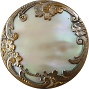 """Large Antique 19th Century Metal Button with Mother of Pearl Inlay 1 7/16"""""""