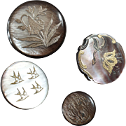 4 Antique Art Nouveau Carved Engraved Mother of Pearl Buttons Flowers Swallows