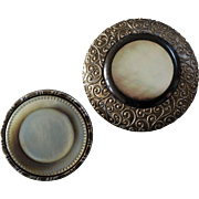 Two Large Antique 19th Century Mother of Pearl Metal Buttons 2""
